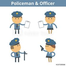 Web Design Office Extraordinary Occupations Cartoon Character Set Policeman Cop And Officer