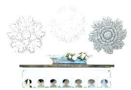 carved medallion wood wall decor round wooden art white wash ceramic flower elegant kids room magnificent c
