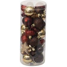 Holiday Time Christmas Ornaments Traditional Mini, Set of 40, Dark Red /  Brown /
