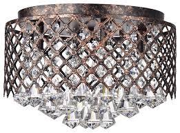 4 light antique copper lattice crystal