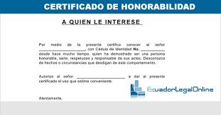 Formato Certificado De Honorabilidad Ecuadorlegalonline