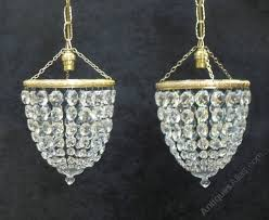 pair of art deco crystal glass basket chandeliers