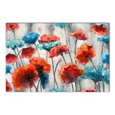 red and blue floral wall art