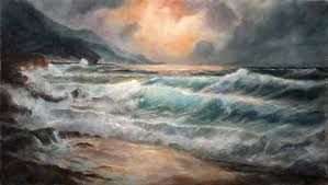 fine art sea and waves original seascape oil painting on linen by artist darko