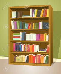 ilration of a cartoon home or wooden bookshelf inside library with books rows stock