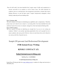 personal and professional development sample by instant essay writing  skills 9