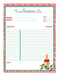 Printable Christmas Recipe Cards Christmas Recipe Card Full Page Organisation Ideas Pinterest