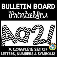 Printable Chevron Letters Black And White Classroom Decor Bulletin Board Letters Printable Numbers Etc