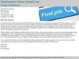 application letter sample for hotel waitress waitress application