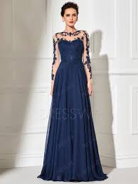 Elegant Sheer Long Sleeve Applique Floor Length Long Evening Dress