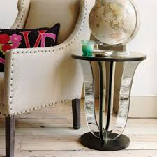 modern living room side table silver round end table with unique leg globe table decor brown