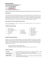 Resume Profile Examples Graphic Designer Oneswordnet