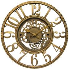 infinity wall clock. infinity instruments gear open dial resin clock, gold wall clock
