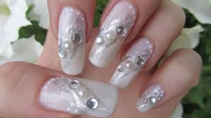 Silver And White Bridal Design And Pearls Nail Art With Tutorial Video