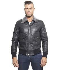 aviator black colour lamb leather er jacket shearling collar