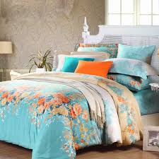 electric blue orange and white spring garden images colorful fl print full queen size 100 cotton bedding sets