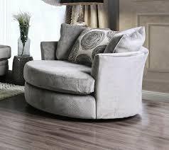 sm5142gy ch bonaventura gray plush microfiber swivel oversized round accent chair