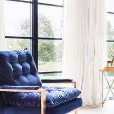 velvet accent chair. Alyssa Rosenheck: Brass Accent Chair With Blue Velvet Tufted Cushions E