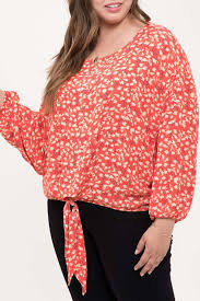 Blu Pepper Size Chart Perch By Blu Pepper Long Sleeve Floral Tie Front Top Plus Size Nordstrom Rack