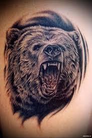 тату медведь рычит мужская татуировка на плече Tatufotocom
