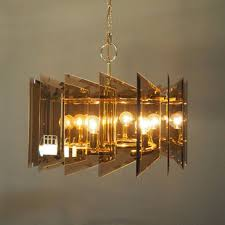 mid century modern smoked glass 6 light chandelier angular gl