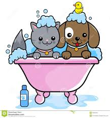 dog and cat taking a bath stock vector ilration of