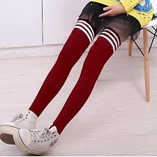 lady girl s comfy striped knee long socks stripe stockings soccer football rugby red white