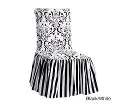 exclusive damask dining room chair covers shabby chic slipcovers for stripe ruffled skirt modern