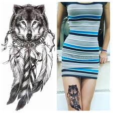 2016 Wolf With Feather Cool Beauty Tattoo Waterproof Hot Temporary