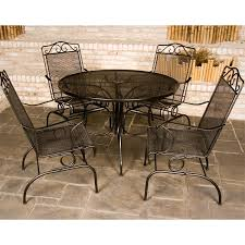 meadowcraft patio furniture awesome 48 round mesh wrought iron outdoor dining table by with 26