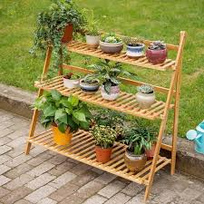 bamboo 3 tier hanging plant stand