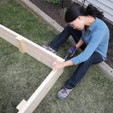 assembling the raised bed frame