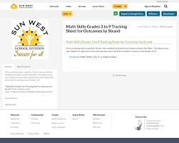skills tracking sheet math skills grades 1 to 9 tracking sheet for outcomes by strand