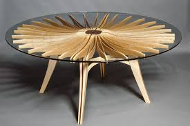 round wood and glass corona dining table custom made by seth rolland fine furniture design