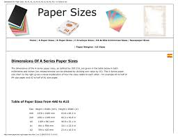 Dimensions Of A Paper Sizes A0 A1 A2 A3 A4 A5 A6 A7 A8