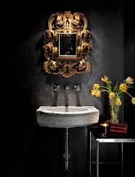 powder room furniture. Mediterranean Powder Room With A Black Backdrop And Stone Sink [Design: Ryan Street \u0026 Furniture E