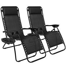 com best choice s set of 2 adjule zero gravity lounge chair recliners for patio pool w cup holders black garden outdoor