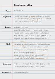 sales assistant cv example example of written curriculum vitae sales assistant cv on lined
