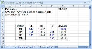 Excel Assignments Civl 1101 Syllabus