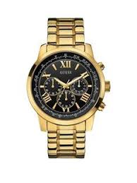 guess mens watches gifts jewellery very co uk guess horizon guess men s chronograph gold bracelet watch