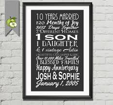 gifts for tenth wedding anniversary 40th anniversary gift for husband awesome tenth wedding anniversary