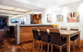 half height wall dining room contemporary with art glass shade