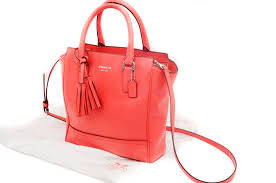 Coach Legacy Mini Tanner Coral Leather Tote Crossbody Bag