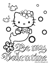 Try to color hello kitty to unexpected colors! Hello Kitty Mermaid Bubbles And Flower Valentines Coloring Pages Printable