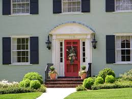 red front door white house. Inspiring Painted Brick Exterior In Green With A Red Door U Flowergardengirl Picture Of Homes Front White House