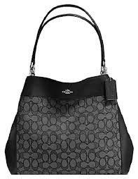 Coach Large Outline Signature Lexy Shoulder Bag Tote Hobo Brown Black Gray  Grey  Coach  ShoulderBag