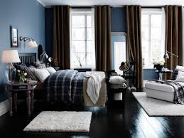 blue boys bedroom with brown ds