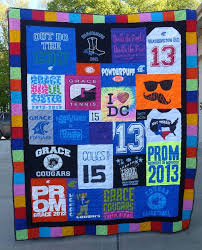 Photographs of T-shirt quilts & Graduation T-shirt quilt with a colorful border Adamdwight.com