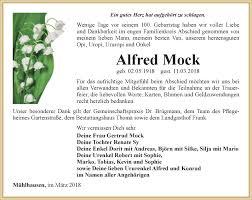 Traueranzeigen von Alfred Mock | trauer-in-thueringen.de