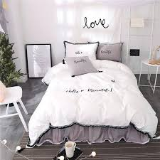white king size duvet cover cotton white grey color girls bedding sets bedclothes queen king size duvet white king size duvet set